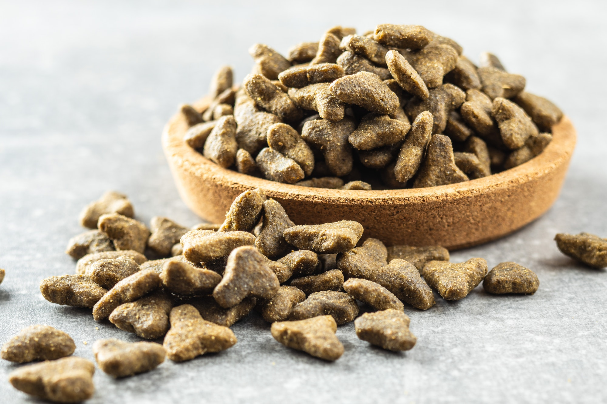 Dry pet food. Kibble dog or cat food.